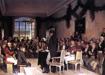 I seks hektiske veker på vårparten i 1814 var 112 menn samla på Eidsvoll Verk. Dei laga dåtida mest liberale grunnlov, erklærte Noreg for ein uavhengig nasjon og valte eigen konge. (Kjelde: www.eidsvoll1814.no)